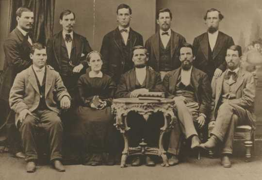 Black and white photograph of the Merritt family some twenty years before they began mining operations on the Mesabi, 1871.