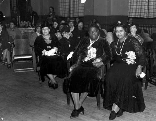 Black and white photograph of I. Myrtle Carden with Mary McLeod Bethune, ca. 1930.