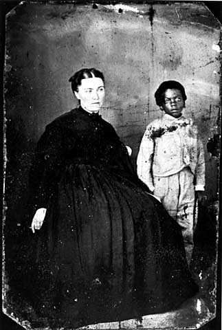 Photograph of Julia B. Nelson with a pupil c.1865.