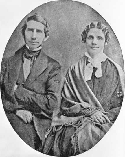 Black and white photograph of Reverend Stephen Riggs and his wife, Mary Riggs, c.1860.