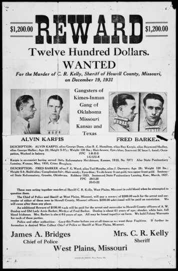 Reward poster for Alvin Karpis and Fred Barker