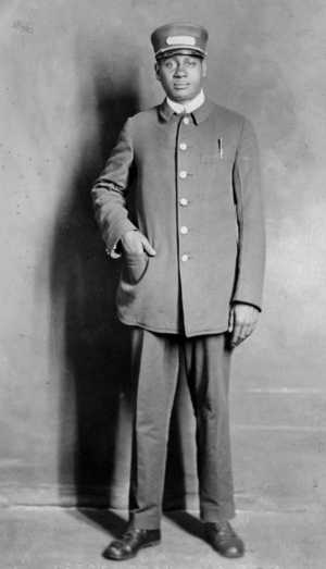 Black and white photograph of Pullman porter Wade Hamilton, c.1920.