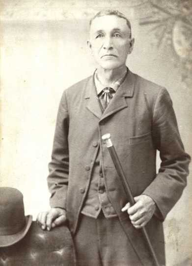 Black and white photograph of Gabriel Renville in South Dakota, ca. 1890. Photograph by Steinhauer.