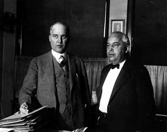 Black and white photograph of Foshay and Henry H. Henley facing charges of mail fraud, 1931.