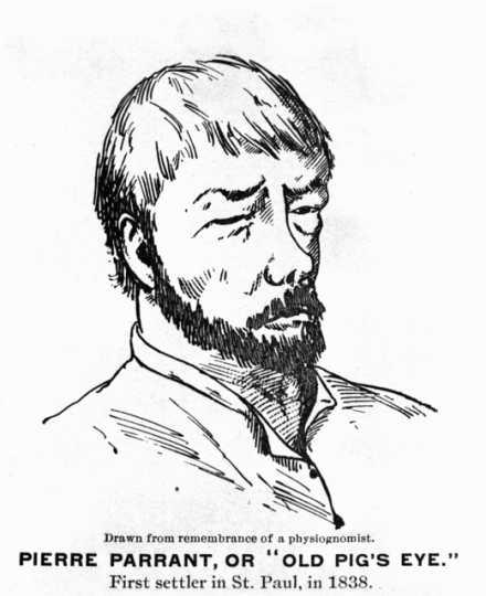 Drawn portrait of Pierre Parrant, ca. 1840.