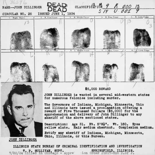 Black and white scan of John Dillinger criminal file, c.1934.