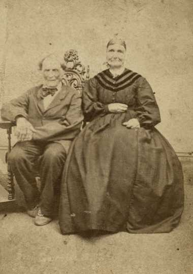 Black and white photograph of Benjamin and Genevieve Gervais, ca. 1875. They were Phelan's nearest neighbors and the first to hear from him of Hays's disappearance.