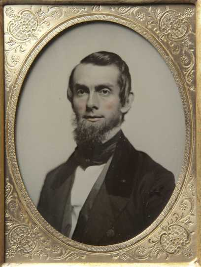 Black and white photograph of Andre Balcombe, 1858.