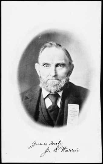 Black and white photograph of John S. Harris of La Crescent. Founding member of the Minnesota State Horticultural Society, 1895.