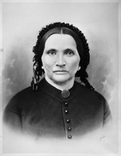 Black and white photograph of Elizabeth Layman, one of the founders of Layman's (later Pioneers and Soldiers) Cemetery, ca. 1870.