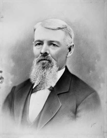 Black and white photograph of Martin Layman, one of the founders of Layman's (later Pioneers and Soldiers) Cemetery, ca. 1875.