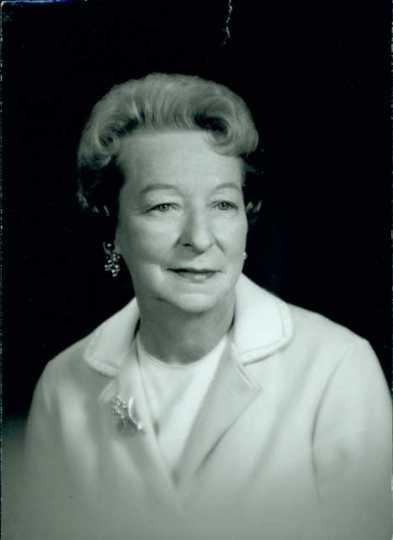 Black and white photograph of Helen E. (Davis) McMillan of Austin, ca.1972.