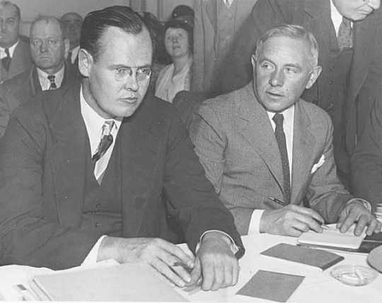 1933 image of Ernest Oberholtzer and Sewell Tyng representing the Quetico–Superior Council and defending the newly passed regulations of the Shipstead–Nolan Act and the Rainy Lake watershed in front of an international commission.