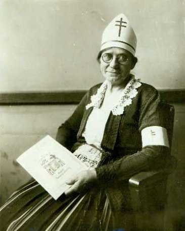 Black and white photograph of Theresa Ericksen promoting Christmas Seals in the battle against tuberculosis, ca. 1924.