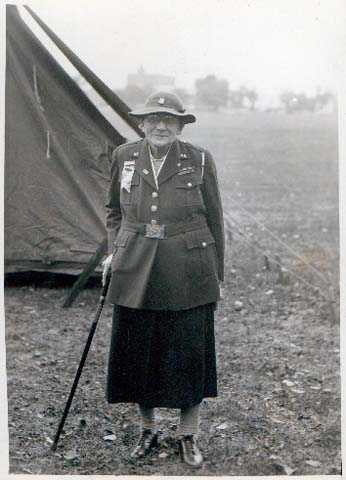 Black and white photograph of Theresa Ericksen at the Third Infantry Veterans Association reunion at Fort Snelling on October 12, 1936.