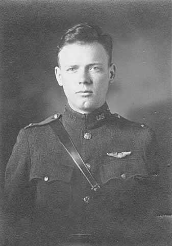 Black and white photograph of Second Lieutenant Charles Augustus Lindbergh in his U.S. Air Force uniform, March 14, 1925.