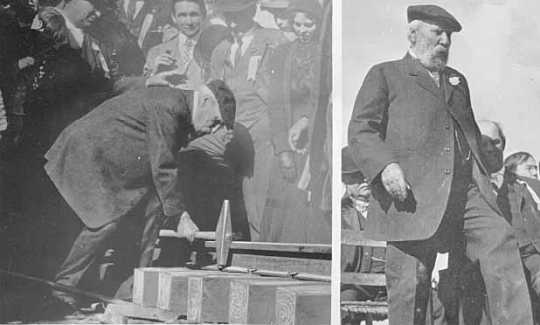 Black and white photograph of James J. Hill, at spike driving celebration extending the Great Northern Railroad, Bend, Oregon, 1911.