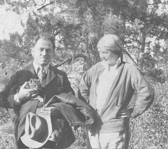 Black and white photograph of Clement Haupers and Elsa Jemne at Big Sand Lake, c.1929.