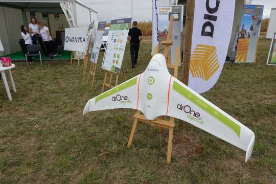 Color image of a type of drone used in precision agriculture on display at Innov-Agri, an international agricultural trade fair. Photographed by Guilhem Vellut, September 6, 2016.