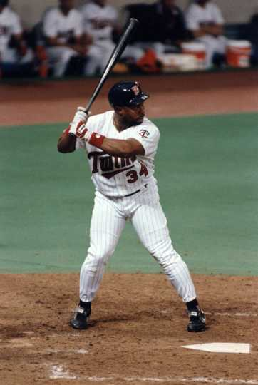 Kirby Puckett squares away in this at-bat in the Metrodome. He would go on to hit .357 in the Series.
