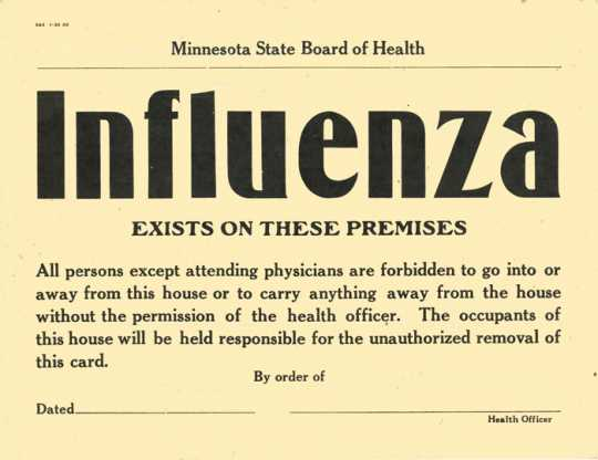 Influenza quarantine sign