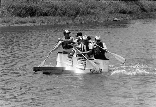 Beer-can regatta at Riverfest 1988