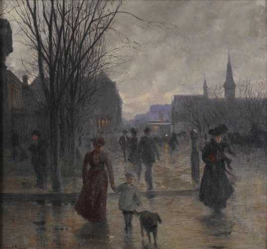"Color image of ""Rainy Evening on Hennepin Avenue,"" c.1902, Oil on canvas painting by Robert Koehler."