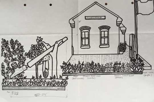 Scale drawing of the world's largest peace pipe installed on the site of the Rock Island Depot, c. 1998.