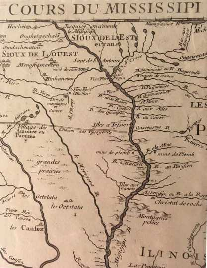 Detail of a map of land claimed by France for King Louis XV