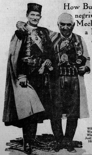 Black and white photograph of Count Rovigno (left) with an unidentified man, possibly Nicholas I, King of Montenegro, c.1922.