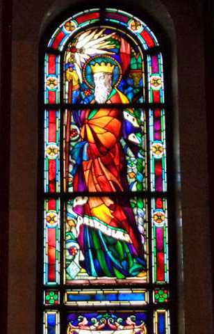 Color image of a stained glass window depicting Saint Wenceslaus inside the Cathedral of St. Paul's shrine of nations. Photographed by Paul Nelson on July 16, 2014.