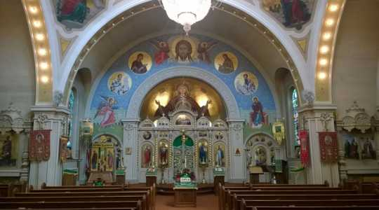 Color image of the sanctuary inside St. Mary's Orthodox Cathedral in Minneapolis. Photographed by Paul Nelson on June 10, 2014.