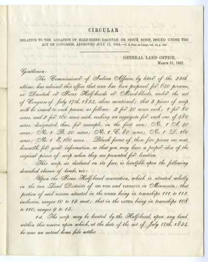 "Circular explaining the location of ""half-breed"" Dakota scrip, March 21, 1857."