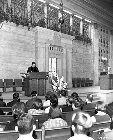 Black and white photograph of service at Temple Israel, Minneapolis. Photographed in 1964.