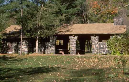 Color image of a shelter/refectory built by the WPA at Interstate State Park, 1938.