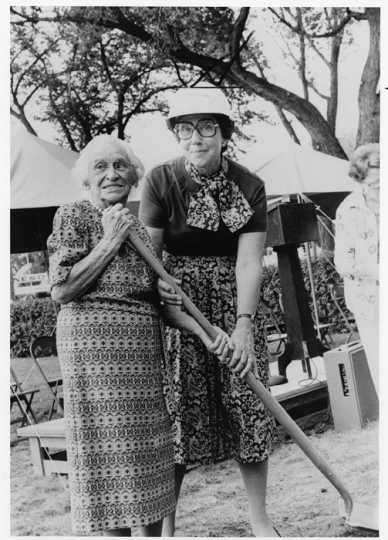 Black and white photograph of Sholom Home groundbreaking ceremony