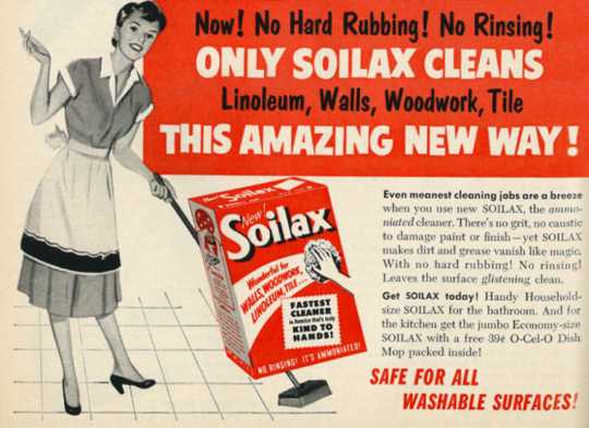 Color scan of a Soilax advertisement, 1953.