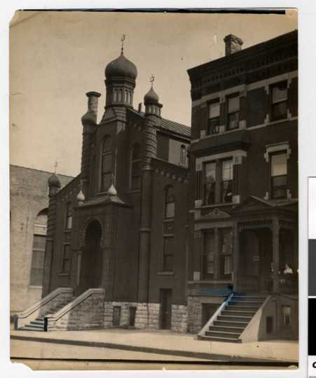 Black and white photograph of exterior, Sons of Jacob Congregation.