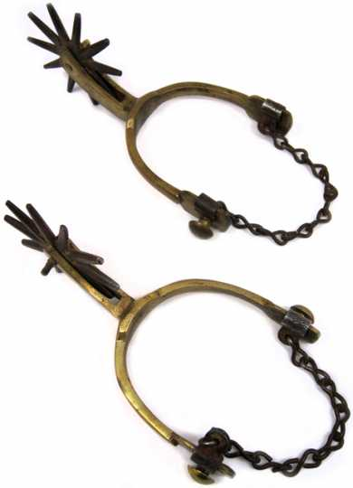 Pair of brass western style spurs with metal boot straps. Each spur has a ten point iron rowel. The spurs were worn during the Civil War by Major Thomas B. Wilson of the 4th Minnesota Volunteer Infantry Regiment.