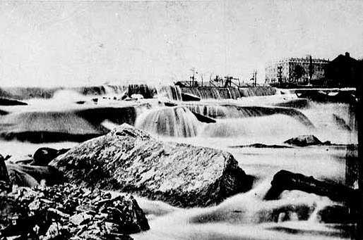 Black and white photograph of St. Anthony Falls taken c.1860.