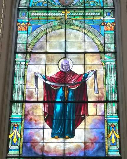 Color image of a stained glass window inside St. Mary's Orthodox Cathedral in Minneapolis. Photographed by Paul Nelson on June 10, 2014.