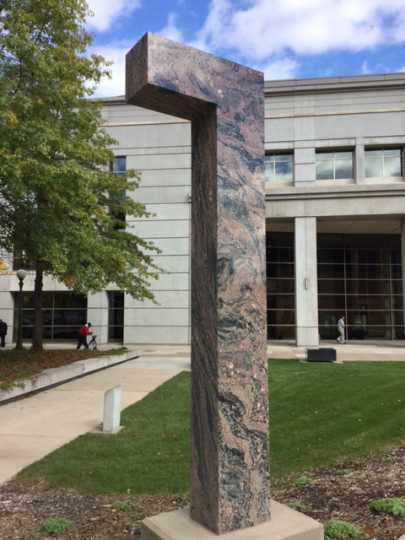 Color image of a sculpture made out of Morton gneiss in front of the Harold Stassen Building in St. Paul, 2016. Photographed by Paul Nelson.