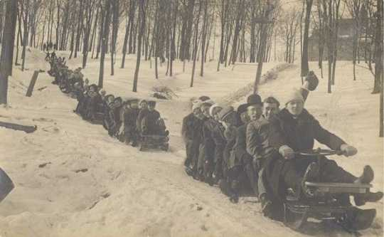 Photograph of St. Olaf College bobsledders on campus