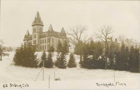 St. Olaf College campus winter panorama