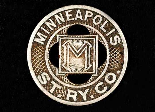 Color image of a Minneapolis Street Railway Company trade token, 1945–1949.
