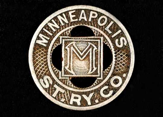 Color image of a Minneapolis Street Railway Company trade token, 1945–1949.