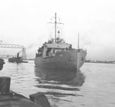 """Launching of the vessel """"Sweetgum,"""" built by Marine Iron and Shipbuilding Co., Duluth, Minnesota. Image courtesy of the United States Coast Guard."""
