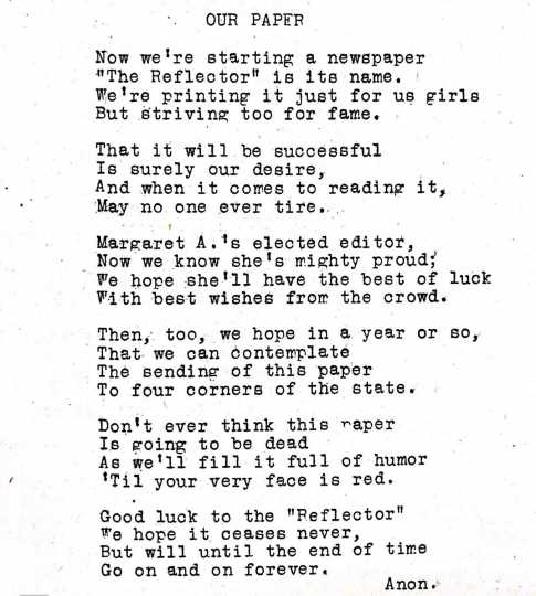 Poem in the Reflector