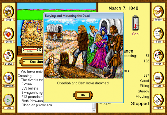 Screenshot of burying and mourning the dead in Oregon Trail 1.2 for Windows 5, 1995.