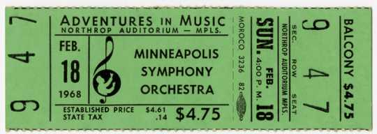 Color scan of an admission ticket for a Sunday 4pm concert at Northrup Auditorium, February 18, 1968.